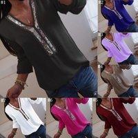 blouses top grande taille achat en gros de-Femmes Sequin Patchwork Col En V À Manches Longues En Mousseline De Soie Chemises 2019 Printemps Eté Nouveau Casual Lâche Chemise Blouse Tops Femelle Grande Taille MMA1417 50pcs