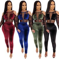 Wholesale velvet yoga pant for sale - Group buy Winter Women S Set Tracksuit Full Sleeve Mesh Velvet Bodysuits Pants Suit Two Piece Set Sexy Night Club Party Outfits S XL