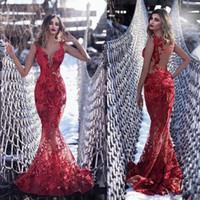veja um longo vestido vermelho venda por atacado-Sexy Illusion Red Sereia Vestidos de Noite Longo Tony Chaaya 2020 Lace Appliqued Sheer Decote Em V Formal Vestidos de Festa de Formatura Ver Através vestido