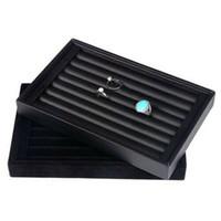 bandeja de exhibición de anillo de terciopelo negro al por mayor-Anillos Bandeja Joyas Exhibición de anillos Organizador de vitrinas Bandeja Caja Terciopelo de cuero negro