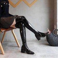 womens cuisse bottes de moto achat en gros de-Charm2019 Cuisse Bottes Hautes Talons Chunky Pointu Toe En Cuir Verni Womens Longues Bottes Moto Chaussures D'hiver Chevalier Bottes