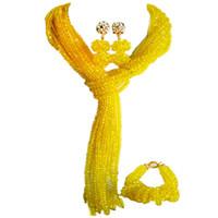 ingrosso orecchini di cristallo giallo del branello-Bella orecchino di cristallo giallo regalo per donna perline collana set 10C-WJ-13