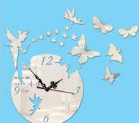 horloge acrylique d'expédition gratuite achat en gros de-Creative DIY papillon horloge murale acrylique sticker mural mode salon horloge murale 2019 livraison gratuite