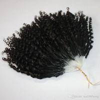 cabelo encaracolado curly chinês venda por atacado-CE certificated Jerry Encaracolado Micro Extensões de Cabelo Anel 400 pçs / lote Kinky Curly Loop Cabelo Natural Loop de Cabelo