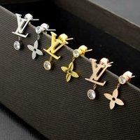 18 k altın kaplama askısı küpeleri toptan satış-Nefis Moda Lady Titanyum çelik Püsküller Tek Elmas Mektup ve Çiçek 18 k Altın Kaplama Nişan Dangle Küpe 3 Renk