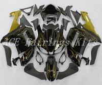 ninja 636 ouro preto venda por atacado-3 brindes novos carenagens da motocicleta abs apto para kawasaki ninja zx6r 636 zx-6r 2007 2008 07 08 kits de carenagem de bicicleta chama de ouro preto