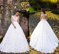Wholesale vintage lace wedding dresses fit flare resale online - New White Butterflies Wedding Dresses with Hand Made Flowers Flare Fitted Sheer Neck Cap Sleeves Applique Long Bridal Gowns