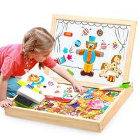 çocuk oyuncakları için çiftlik hayvanları toptan satış-Manyetik Yapboz Tahtası Ahşap Eğitici Yazma Oyuncak Çocuk Çocuk Çiftliği Jungle Hayvan Jigsaw Çizim Şövale Kurulları GGA2795