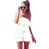 ingrosso abbigliamento donna caramelle-Casual Ruffles Vita senza spalline Pagliaccetti Womens Dress Summer Women Colore Candy Estate Abbigliamento donna Taglia S-2XL