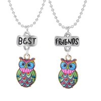 Wholesale necklace for pairs resale online - 2PCS Pair quot Best Friends quot Necklaced Colorful Owl Pendant Necklaces Kids Necklace For Children Jewelry Birthday Gifts