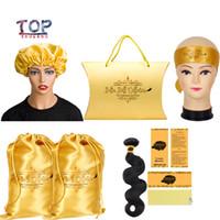 sacos de presente de seda preta venda por atacado-Personalizado Logotipo do Virgin Cabelo Bundle Box Embalagens / Satin Bags / Tag do cair / Sticker Cabelo Bundle Wraps / capotas / Headband