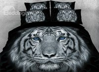 Wholesale tiger print bedding sets for sale - Group buy Tiger with Blue Eyes Printed Piece Animal D Bedding Sets Duvet Covers