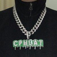 joyas de circón verde al por mayor-Joyería de Hip Hop A-Z Nombre de encargo del verde epoxi burbuja gota Chain Letter Collares pendiente del Zircon de los hombres con 18