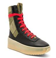женские верхние ботинки холстины оптовых-Новые женские страх Божий обувь джунгли высокого верха кожаные кроссовки с холст вставки туман сапоги платформы мужская мода кожаные ботинки размер 38-45