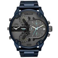 Wholesale stopwatch big resale online - Multi Time Zone Wristwatch Montre luxe Military Clock Leather Strap Big dial DZ Stainless steel Watch Men s Sport Quartz Diesels Watch