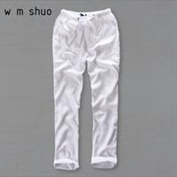 weiße leinenhose männer großhandel-Männer Sommer Casual Hosen Natürliche Baumwolle Leinenhose Weiß Leinen Elastische Taille Gerade Joggers Hosen Y234 Y190510