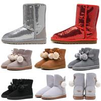 kız yün çizmeler örme toptan satış-UGG boots Yeni arrivall WGG Kadın Diz Çizmeler Ayak Bileği Çizmeler Avustralya Klasik Bayan kız bayanlar Örme Yün Pembe Kırmızı Siyah Kış Kar Botları
