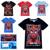 spiderman hemden großhandel-4-10 Jahre Baby Jungen Spiderman T-Shirt Kinder Jungen Designer Sommer Kleidung Kurzarm T-Shirt Tops Kinder Freizeitkleidung