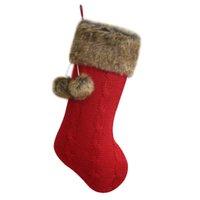 kunstpelzstrümpfe großhandel-Kostenloser Versand Zopfmuster Weihnachtsgeschenke Socken / Weihnachtsdekoration / Stricken mit Kunstpelzmanschette Weihnachtsstrümpfe