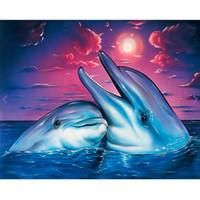 malerei liebhaber großhandel-5d diy diamant malerei kreuzstich kit voller diamanten stickerei delphin liebhaber 5d diamant mosaik bild hause dekorative