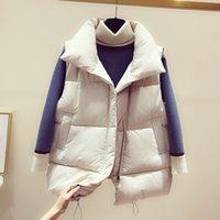 casacos de mulheres de moda de inverno coreano venda por atacado-Inverno queda Brasão Vest Quente acolchoado Mulheres Moda Feminino Womens Bege Preto Verde mangas, coreano Coletes Coats para Mulher