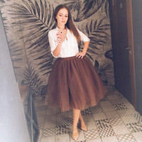 6e58835b71 Wholesale plus size purple petticoat for sale - High Waist Layer Midi Tulle  Skirt Tutu Skirts