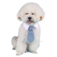 einstellbare halsbänder großhandel-Haustier Hund Krawatten Krawatten Gestreifte Bögen Tier Adjustable-Hals-Bindung White Collar Top-Qualität Hundekrawatte