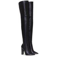 büyük çizmeler siyah kadınlar toptan satış-Moda Diz Üzerinde Kadın Çizmeler Çıplak Deri Kalın Yüksek topuklu Uyluk Kadın Çizmeler Siyah Gece Kulübü Elbise Ayakkabı Büyük Boy 34-45