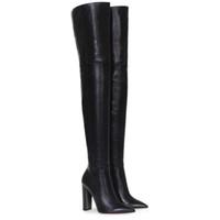schwarzes kleid für große frauen großhandel-Mode über das Knie Frau Stiefel Nude Leder dicke High Heels Oberschenkel Frau Stiefel schwarz Nachtclub Kleid Schuhe große Größe 34-45