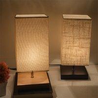 lampenschirm stoffe groihandel-Nachttischlampe Minimalist Tisch Aus Massivholz-Nachtlicht Stoffschirm Nachtschreibtischlampe Einfacher Schreibtisch-Lampen Runde Nachtlampe