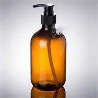 ingrosso shampoo bottiglie per doccia-300ml colore del tè Bottiglia Pompa a pressione PET sottile collo Doccia Gel Shampoo Bottiglie sapone dell'erogatore Accessori Bagno 1 75xmH1