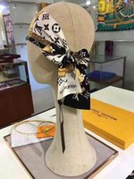 ingrosso signore testa sciarpe-Branded Women Allover Kabuki Stickers Bandeau Bandeaux alla moda Fascia versatile Designer Lady Silk Scarf Belt Wrapped Neck Head