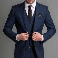 damat erkek mavi toptan satış-Lacivert Örgün Düğün Erkekler Suits Yeni Üç Parçalı Çentikli Yaka Custom Made İş Damat Düğün Smokin (Ceket + Pantolon + Yelek)