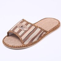 Wholesale factory floors direct for sale - Group buy Flax Slippers Sandals Summer New Linen Slippers Men and Women Home Cool Factory Direct Sales Indoor Shoes