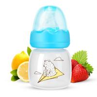 neugeborene glasflaschen großhandel-60ML Portable Baby Babyflasche Silikon Neugeborenen Glas Feeder Flaschen für 0-6 Monate Infant Kid