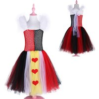 disfraz cosplay rojo para niña. al por mayor-Queen of Hearts Tutu Dress Girl Kids Halloween Carnival Dress Alice In Wonderland Red Queen Cosplay Costume Girls Party Dress
