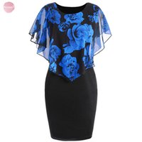 Wholesale rose print clothes resale online - Size Plus Women Dress Sexy Vintage Rose Overlay Capelet Bodycon Summer Dress Casual Party Dresses Vestidos Designer Clothes