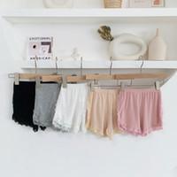 gelbe baumwollschlüpfer großhandel-Wlg Dessous Mädchen Spitze Solid Black Beige Pink Panties Kinderkleidung