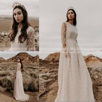 Wholesale long train beach wedding dresses online - 2019 Vintage Jewel Neck A Line Beach Lace Wedding Dresses With Sheer Long Sleeves Sexy Backless Boho Bridal Gowns Custom Made robe de mariee
