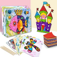 Wholesale furniture for toys for sale - Group buy 16 designs children creative paper art toys with color paper kids cartoon paper stickers for art craft educational toys T200401
