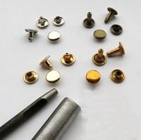 metal botão buraco venda por atacado-10 Conjuntos de Peças de Metal Alças de Saco Lidar Com Rebite Composite Botão Hardwear Couro Buraco Soco Bagagem E Sacos de Peças Bronze