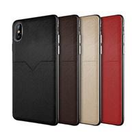 iphone kreditkartenschlitz großhandel-Neue ledertasche handy case kreditkartensteckplätze für iphone xr xs max x 6 7 8 plus s8 s9 s10 plus note 8 9 huawei xiaomi case