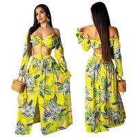 iki bölünmüş etek toptan satış-Çiçek Baskı Kadınlar Seksi Iki Parçalı Set Elbise 2019 Lace Up Kapalı Omuz Uzun Kollu Kırpma Üst Şort + Yüksek Bölünmüş Lon Etek Plaj Maxi Elbiseler