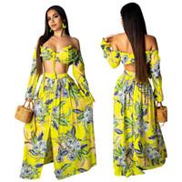 ingrosso due pezzi maxi skirt set-Vestito a due pezzi sexy delle donne della stampa floreale Vestito da sopra a maniche lunghe della spalla della parte superiore 2019 del pizzo