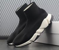 zapatos casuales de alta moda al por mayor-Diseñador de moda de lujo zapatos de mujer para hombre Calcetín Entrenador de velocidad Zapatillas de deporte de punto Slip-on de alta calidad Casual calzado deportivo Comfort Chaussures