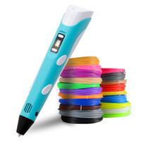 экран 12v оптовых-3D печать Pen 2-го поколения светодиодный экран 3D рисунок принтер Pen Free 9M PLA нить для ребенка образования игрушки