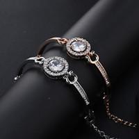 pulseira de trevo de ouro rosa venda por atacado-Swan Clover Design Pulseiras Bangle Rose Gold Silver Moda Diamante Strass Zircão Pulseiras De Cristal Jóias para As Mulheres Meninas Presente de Casamento
