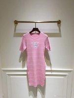 ingrosso donne abiti corti rosa-2019 New Milan Runway Dress Blue / Pink Maniche corte Knitting Long Women Dress Designer Ricamo lungo Pullover Womens 003