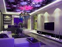 ingrosso tela di fiori viola-Viola fantasia bel fiore intes Grande Murale Impermeabile Tela autoadesivo adesivo rimovibile 3D Soggiorno camera da letto soffitto Wallpaper