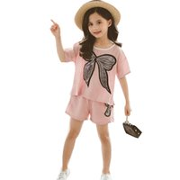 Wholesale girl t shirt 12 year resale online - Children Clothing Sets Summer Girls Sports Suit Cotton bow Short Sleeve T shirt Pants Girls Clothes Years